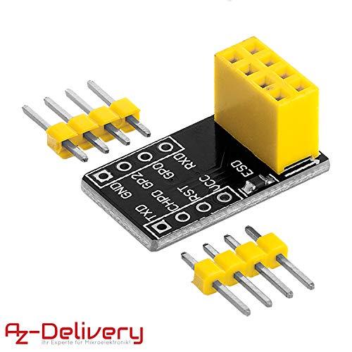 AZDelivery ESP8266 ESP-01 Adaptateur pour Arduino et Raspberry Pi Breadboardadapter y compris un eBook