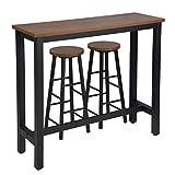 WOLTU Set Mesa de Bar y 2 uds. Taburete de Bar Muebles Cocina Silla de Comedor para Salon Cocina Mesa 120x40x100 cm Estructura de Metal, MDF Haya Oscura BT17dc+BH130dc-2