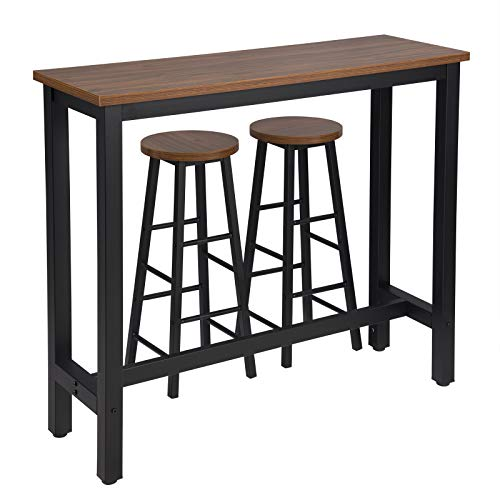 WOLTU Kitchen Bar Table Counter and 2 Stools Set Breakfast Dining Table Dark Beech Coffee Table Metal Legs with Footrest for Kitchen Dining Room Conservatory Patio