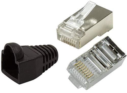 odedo® 20er Pack Crimpstecker CAT6 / 5e Metall geschirmt mit Knickschutz-Hülle, Crimp Stecker Netzwerk Lankabel Netzwerkstecker RJ45 Kat6 Kat5e, Modular Plug Shielded Connector (Black)