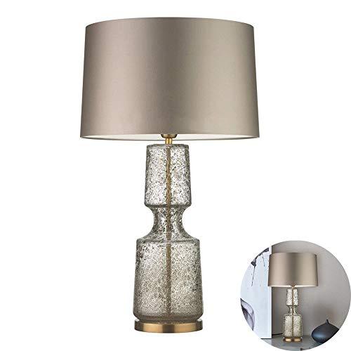 FYMDHB886 Moderne tafellamp van stof minimalistisch, retro-verlichting, warm licht met glazen vaas, slaapkamer, nachtlampje, Size, C.