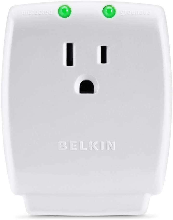 Belkin 1-Outlet Home Series SurgeCube - Grounded Outlet Portable Wall Tap Adapter with Ground & Protected Light Indicators for Home, Office, Travel, Computer Desktop & Charging Brick - White, 1080 Joules
