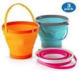 Foldable Pail Bucket Collapsible Buckets Multi Purpose for Beach, Camping Gear Water and Food Jug, Dog Bowls,...
