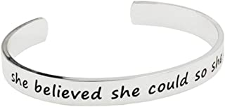 Youngdee Inspirational Gifts for Women & Teen Girls Message Cuff Bracelet Personalized Birthday Jewelry