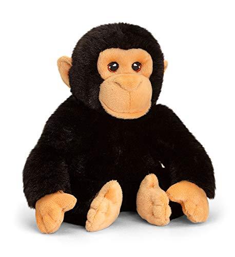 tachi Stofftier Schimpanse Schwarz, Sitzender Plüschtier AFFE 18 cm, Kindersicheres Kuscheltier Äffchen
