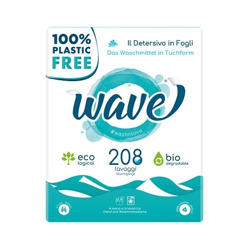 Wave Washing Classic - Il detersivo in fogli - 100% PLASTIC FREE - 208 lavaggi - Ecologico - Biodegradabile - Compostabile …