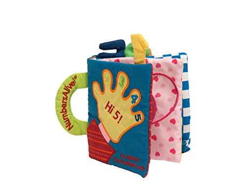 HI 5! Award-Winning Soft Numbers and Shapes Book for STEM Foundation - Embroidery Teaches tracing; Child-friendy Handle to Carry or Hang on Stroller
