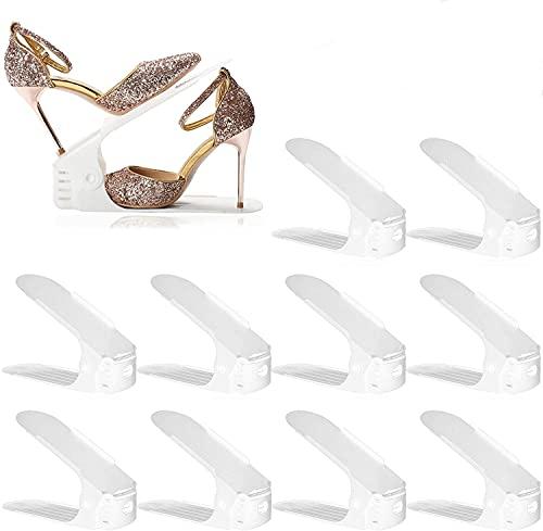Set de 10pcs Organizadores de Zapatos, Soporte de Calzado de Altura Ajustable, Zapatero Simple, Adecuada para Mujeres y Hombres, Ahorra Espacio (blanco)
