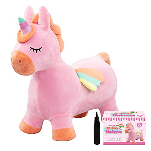 U&C Planet Unicorn Bouncy Horse Bouncy Animals for Toddlers Hopper Plush Inflatable Hopper Animal Hopping Toys Gift for Kids Toddlers