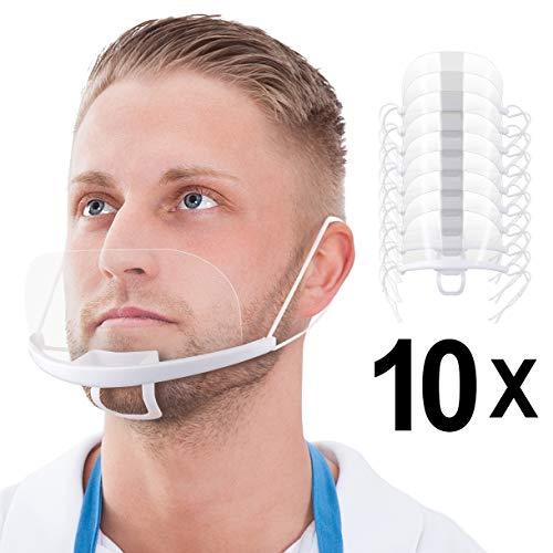 Blumax 10 x Gesichtsvisier aus Kunststoff in Weiß | Universal Gesichtsabdeckung | Face Shield - Halbvisier