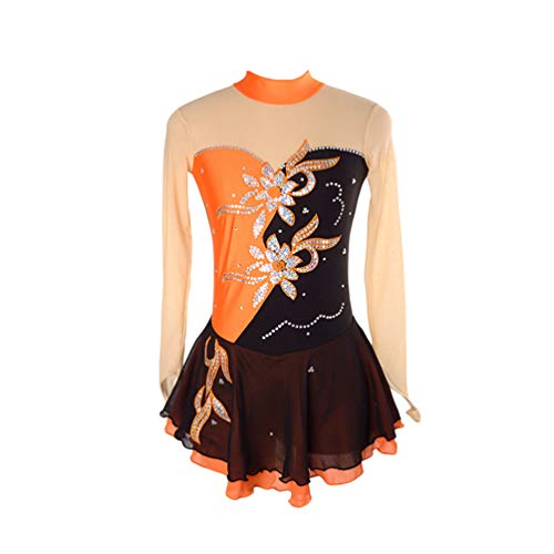 Kaiyei Eiskunstlaufkleid Frauen Mädchen Eislaufkleid Royal Chemical Fiber Mischung Nylon Material Handgefertigte feine Bohrer Schwarz Orange S