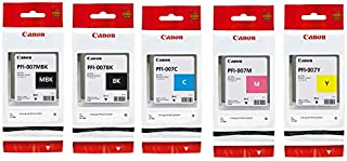 Canon 90ml Dye Ink Tank Bundle for imagePROGRAF iPF670E Printer, Consists of PFI007BK Black, PFI007C Cyan, PFI007M Magenta...