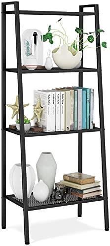 AQWESD Ladder Shelf Standing Shelf Unit 4 Tier Bookshelf Display Rack Bookcase Storage Black 60 * 35 * 147cm