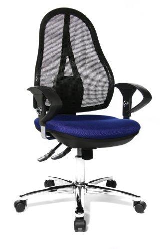 Topstar Open Point SY Deluxe, ergonomischer Syncro-Bandscheiben-Drehstuhl, Bürostuhl, Schreibtischstuhl, inkl. Armlehnen (höhenverstellbar), Stoff, blau