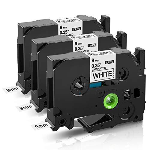 COLORWING Kompatibel Schriftband Ersatz für Brother TZe-221 9mm 0.35 Tz-221 TZe221 Tape Cassette für Brother P touch H100LB H105 H110 H101C D200 D400 D600 E100, Schwarz auf Weiß 9mm X 8m 3er