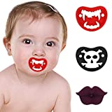 3Pcs Baby Pacifier, Newborn Start Orthodontic Pacifier, Soft Silicone Bibs Pacifier 0-6, Funny Teeth Designed Baby Pacifiers for Soothe Your Newborn Baby