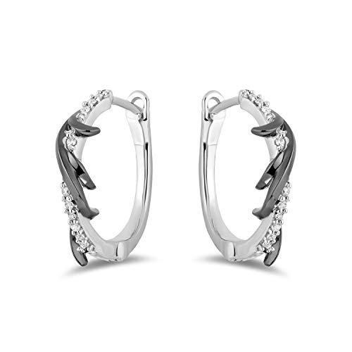 Jewelili Enchanted Disney Fine Jewelry Sterling Silver with Black Rhodium 1/10 CTTW Diamond Maleficent Earrings