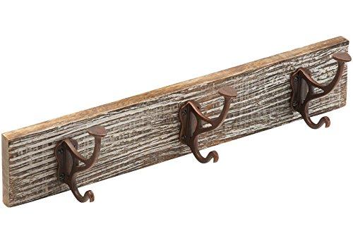 Metafranc Vintage-Hakenleiste 450 x 90 mm - Mangoholz - 3 Huthaken - Vintage-Stil - Used-Look / Garderobenleiste / Wand-Garderobe / Wandhaken / Kleiderhaken / Handtuchhaken / 261847