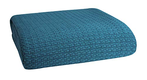 Elvana Home 100% Cotton Bed Blanket, Breathable Bed Blanket Full - Queen Size, Cotton Thermal Blankets Full - Queen, Perfect for Layering Any Bed for All Season, Teal Green