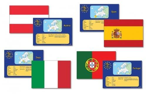 Wildgoose Education WG1608 Europese vlaggen en feiten kaart (Pack van 28)
