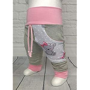 Baby Pumphose mit Tasche It´s a Girl Teddy Grau Rosa handmade Puschel-Design