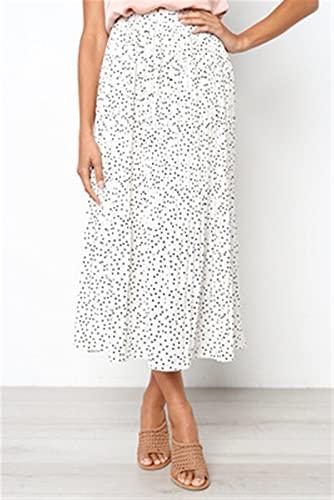 Basbsa Jupes pour Femmes Femmes Points Blancs Imprimé Floral Jupe Midi Plissé Femmes Elastic Taille High Taille Poches Jupes Été Élégante Femme Fond (Color : White, Size : XLarge)