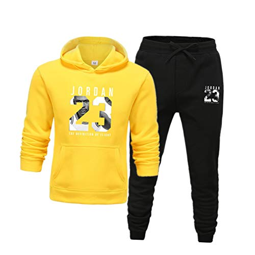 Jordan 23# Conjunto de Traje de chándal para Hombre, Baloncesto Uniforme de Jogging Hoodies + Pantalones Sports Traje Conjuntos Joggers Pantalones 20-M