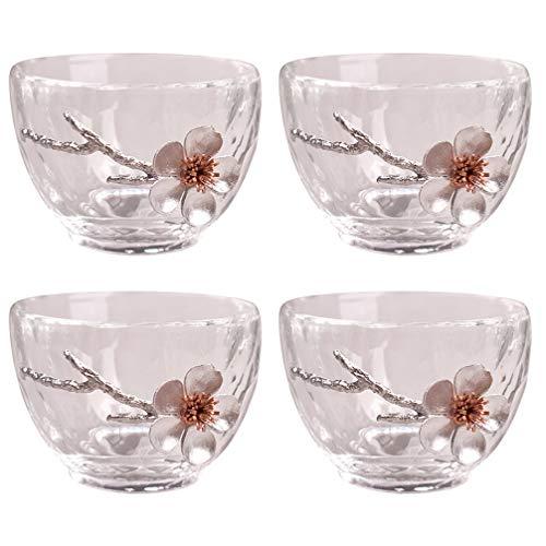 YARNOW 4Pcs Tazas Japonesas de Sake Frío Tazas de Té Tazas de Vidrio Vasos para Beber Sake Japonés Vidrio para Servir