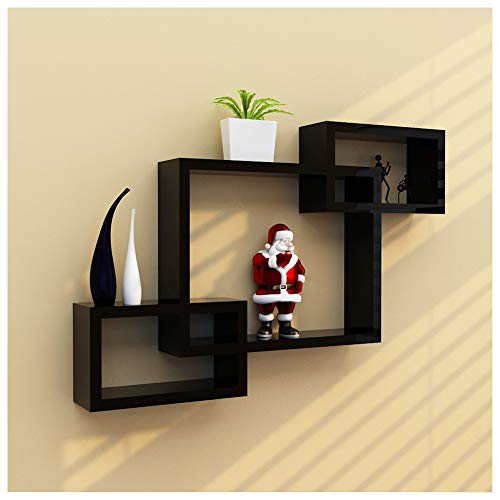 Clearance Sale!DEESEE(TM)🍀🍀Intersecting Boxes Black Red White Decorative Square Wall Shelf Includes Three Square Shelves (Black)