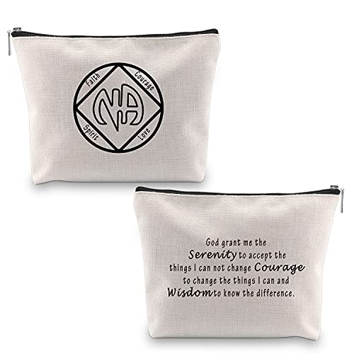 MBMSO NA Recovery Gifts NA Sobriety Gifts Sober Makeup Bag Narcotics Anonymous Gifts for Women NA Zipper Pouch Cosmetics Bag