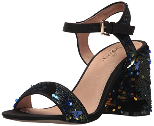 Shellys London Women's Gale Heeled Sandal, Black/Blue, 36 M EU (6 US)