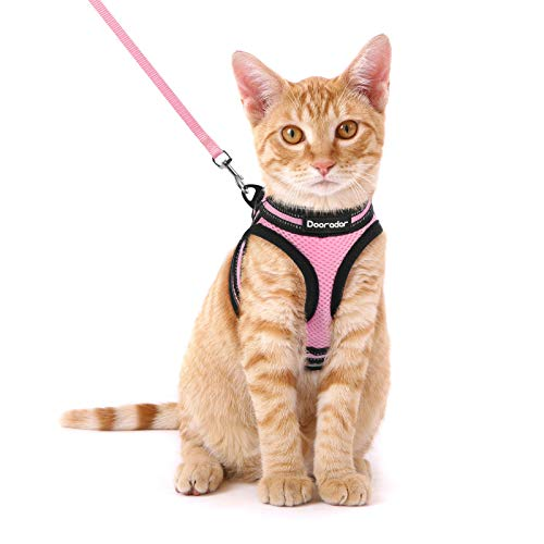 Dooradar Cat Leash and Harness Set Escape Proof Safe Cats Step-in Vest Harness for Walking Adjustable Kitten Collars with Reflective Strip Breathable Mesh (Pink, S, Chest: 9.0''- 12''.)