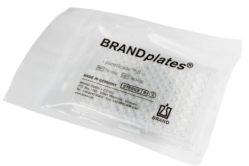 BrandTech 781661 Polystyrene V-Bottom 96 Well BRANDplates pureGrade S Microplate, Sterile and Non-Treated, 360 microliter Well Capacity, Transparent (Pack of 50)