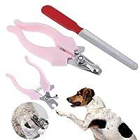 MAODING 2個/セットペットネイルクリッパー爪カッターはさみのために犬子犬猫ネイルトリマーネイルファイル動物ペットグルーミングツールサプライ (Color : Pink, Size : M)