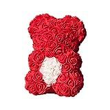 Fltaheroo Flor Artificial del CorazóN del Oso Rosa Rosa Osito de Peluche para Mujer Boda de San ValentíN CumpleaaOs Rojo