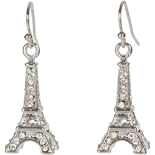 Heirloom Finds Eiffel Tower Paris Earrings in Crystal and Silver Tone