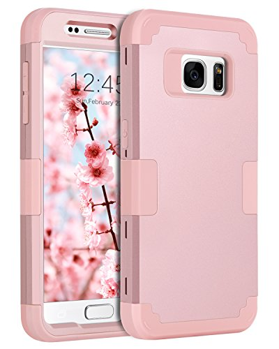 BENTOBEN Case for Galaxy S7, Heavy Duty Rugged Slim Shockproof Drop Protection 3 in 1 Hybrid Hard PC Impact Resistant Soft Rubber Bumper Protective Phone Cover Case for Samsung Galaxy S7, Rose Gold