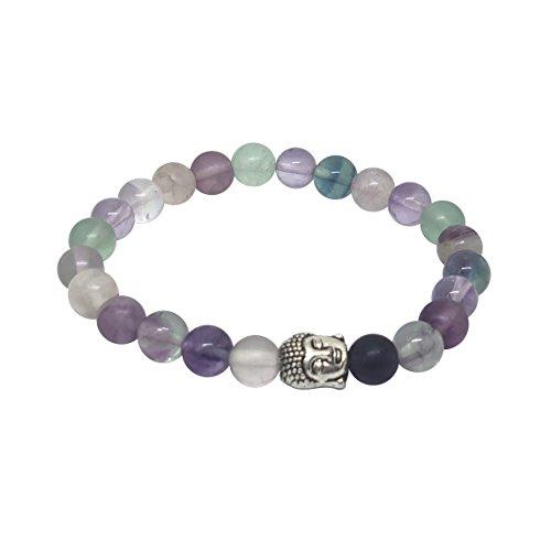 'Body Mind and Soul' Amethyst & Multi Flourite Gemstone Chakra Bead Buddha Bracelet Natural Stones Handmade Jewelry for Men Women Gift Boxed… (Multi Flourite Buddha Bracelet)
