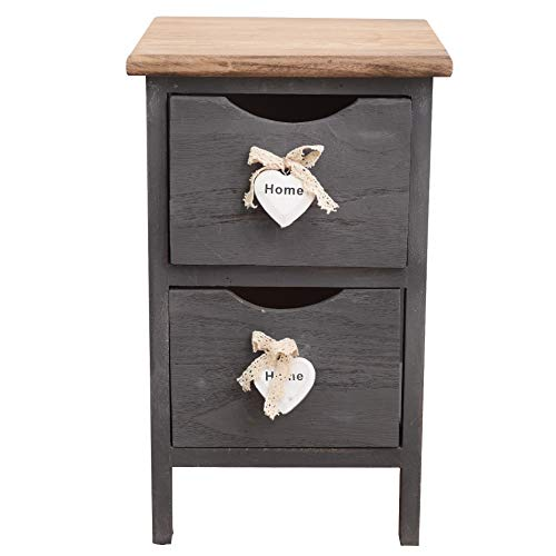 Rebecca Mobili Cabinet Furniture Bedside 2 Drawers Wood Grey Heart Shabby chic Vintage Home Bedroom Bathroom - 45 x 26 x 32 cm (H x W x D) - Art. RE4558