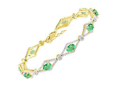 Impresionante pulsera de esmeralda y diamante de tenis en plata chapada en oro amarillo – ajustable para adaptarse a muñecas de 18 a 20 cm