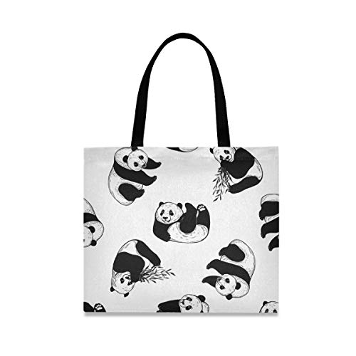 Bolsa de lona para mujer con diseño de pandas, grande, reutilizable, con bolsillo interior, bolsa de compras, para gimnasio, playa, viajes al aire libre
