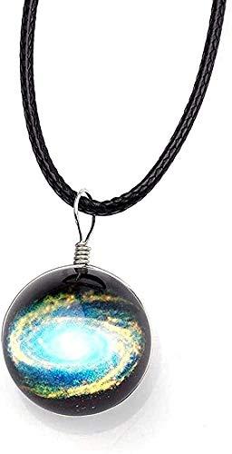Collar Collar Collares Cristal Bola de cristal Colgante Universo Estrella Cadena de cuerda negra Encantos para pareja Patrón de galaxia Decoración Joyas-3 para mujeres Hombres Niños Niñas Regalo