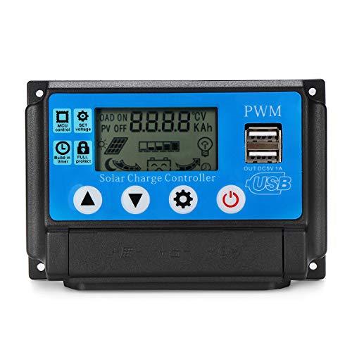 12V-24V Solar Ladegerät PWM Controller Panel Daul USB LCD Batterie Regler Auto