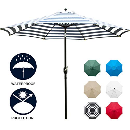 Sunnyglade 9' Patio Umbrella Outdoor Table Umbrella with 8 Sturdy Ribs (Blue and White)