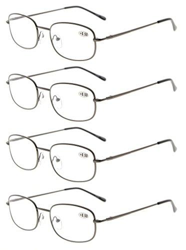 Eyekepper 4 Pairs Reading Glasses Metal Gunmetal Frame Reader Eyeglasses...