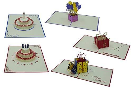 3D Geburtstagskarten - Set mit 5 Stück Pop up Karten im günstigen Vorteilspack - Pop-Up-Karten - liebevoll handgefertigt - Motive (5)