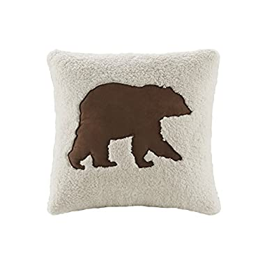 Hadley Plaid Berber Fashion Throw Pillow, Lodge/Cabin Pieced Square Decorative Pillow, 18X18, White