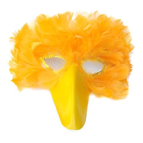 True Yellow Feather Bird Mask with yellow beak