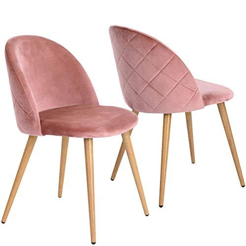 Coavas Esszimmerstühle Wohnzimmerstühle Küchenstühle Schminkstuhl Samt Weich Kissen Sitz und Rücken Mit Holzbeinen Esszimmer Stühle für ESS- und Wohnzimmer Besucherstühle 2er Set Rosa
