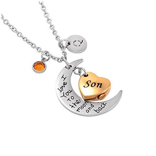 Wxcvz Collar De Urna De Cremación I Love You To The Moon and Back Son Collar De Urna De Cremación Joyas Conmemorativas para El Recuerdo del Tenedor De Cenizas